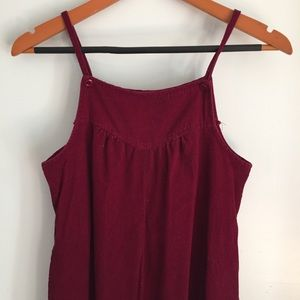 Vintage corduroy maroon red jumper overall dress